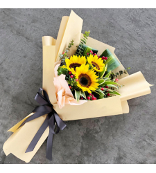 delivery 3 stems fresh sunflower in bouquet to cebu