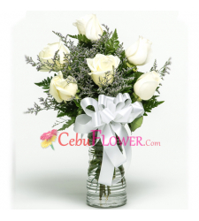 send half dozen white roses in glass vase to cebu