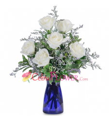 send 6 pcs. white roses in glass vase to cebu