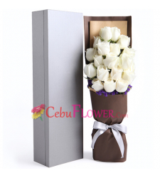 send 18 pcs. white color roses in a box to cebu