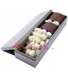 send 2 dozen of white color roses in box to cebu