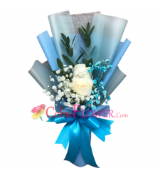 send 2pcs. white roses in a hand bouquet to cebu