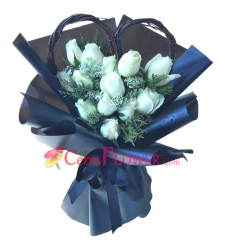 send 12 stems white roses in bouquet to cebu