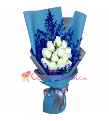 send 12 stems of fresh white roses in bouquet to cebu