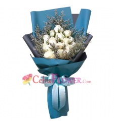 delivery 15 stems white roses in bouquet to cebu