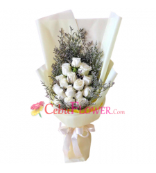 send 18 stems fresh white roses in bouquet to cebu