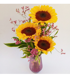 3 Stems Sunflower in Vase