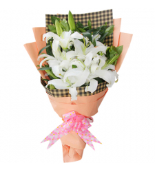 send half dozen white lilies in a bouquet to cebu city