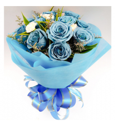 send dozen of blue color roses in bouquet to cebu