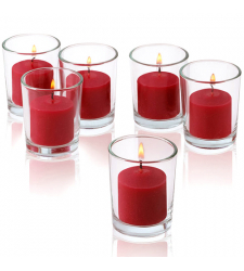 6 pcs Red Carndles with Glass Holder Cebu City