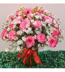 send bunch of 36 pink roses in vase to cebu