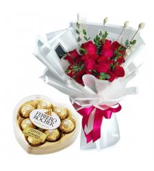 send 12 red roses with ferrero heart shape to cebu