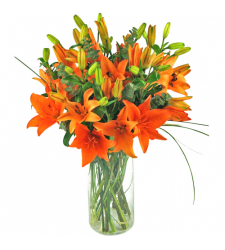 ​One Dozen Orange Lilies in a Vase to Cebu City