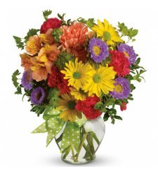 send mixed seasonal flowers in a vase to cebu