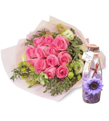 send 18 pink and white roses with bottle message to cebu