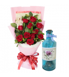 send 12 roses and mini bear with bottle message to cebu
