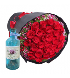 send 2 dozen roses with free bottle message to cebu