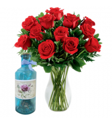 send 12 red roses in vase with bottle message to cebu