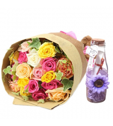 send 24 mixed roses with bottle message to cebu