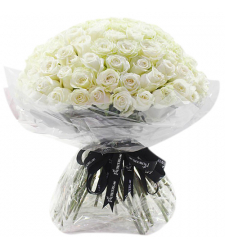 100 fresh white roses in a special bouquet