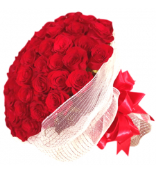 100 fresh red roses in a special bouquet