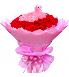 100 Red and Pink Roses in Bouquet