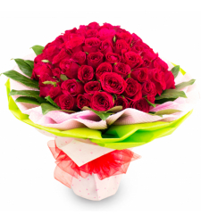 100 Fresh Red Roses in Special Bouquet