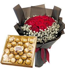 12 Red Rose Bouquet With 24 pcs. Ferrero box