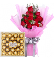 12 rose bouquet with ferrero box chocolate to cebu