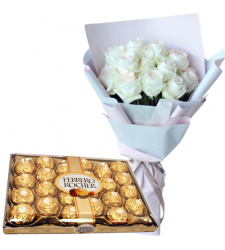 12 White Roses Vase with 24 Ferrero Chocolate Box