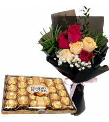 6 Peach & Red Roses with Ferrero Chocolate Box