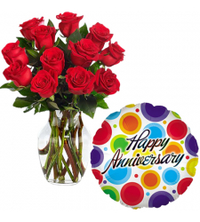12 pcs Roses Vase with Anniversary Balloon