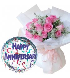 12 Pcs. Pink Roses with Anniversary Balloon