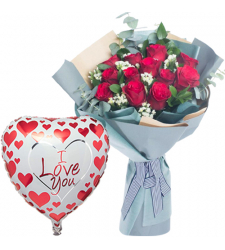 12 Red Roses Bouquet with Mylar Balloon