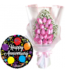 24 Pcs Pink Roses Bouquet with Anniversary Balloon