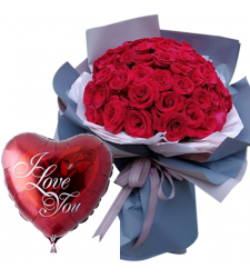 36 Red Roses In Bouquet with Love You Balloon