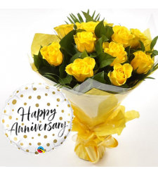 12 pcs Yellow Roses & Anniversary Balloon