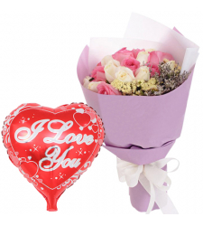 18 Pcs. Mixed Roses Bouquet with Mylar Balloon