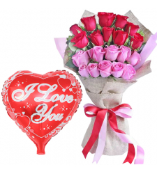 20 Red and Pink Roses Bouquet with Mylar Balloon