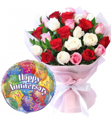 24 Pcs Mixed Roses with Anniversary Balloon