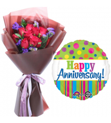 12 Red Roses Bouquet with Anniversary Balloon