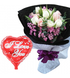 12 pcs Mixed Roses Bouquet and Love You Balloon