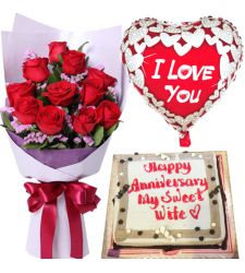 12 Red Roses with Cake and Anniversary Balloon