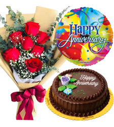 7 Red Roses Bouquet with Cake and Anniversary Balloon
