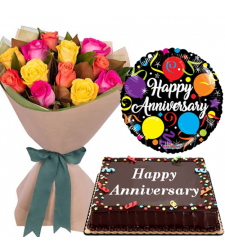 Cake with Mixed Roses Bouquet with Anniversary Balloon
