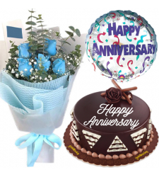 5 Blue Roses with Anniversary Cake and Balloon