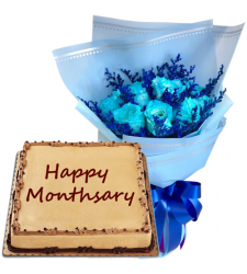 9 Blue Rose Bouquet with Anniversary Mocha Cake