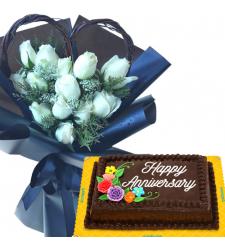 12 White Roses with Anniversary Chocolate Cake