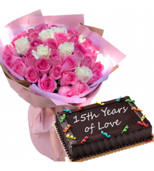 50 Mixed Roses Bouquet with Chocolate Anniversary Cake