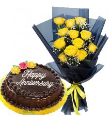 12 Pcs. Yellow Roses with Chocolate Anniversary Cake